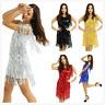 Women Sequins Tassel Skirts Latin Jazz Rumba Tango Belly Ballroom Dance Costume