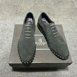 37-47 Men Suede Leather Casual Shoes Rivets Pointy Toe Business Formal Shoes New