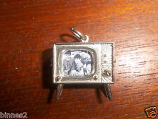 THE BEATLES STERLING SILVER MODEL OPENING TV SET CHARM WITH PHOTO OF THE BEATLES