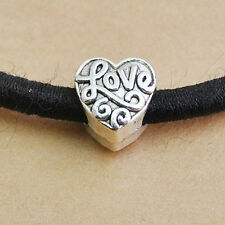 10/20/50/pcs Tibetan Silver Love Heart Spacer Beads10x10mm(4.5mm hole)DZ141