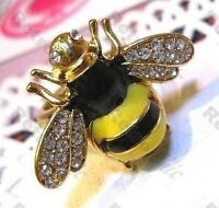 BIG vintage style BEE RING rhinestone CRYSTAL wings QUIRKY INSECT gold plated