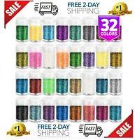 Set of 32 Colors LEOBRO Multi Purpose Glitter Powder for Arts Crafts Tumblers