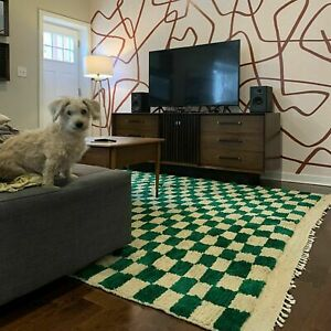 Green Checkered area rug, Moroccan berber checkerrug, custom checkerboard rug