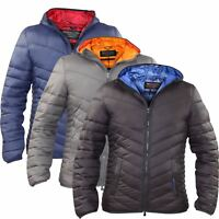 New Mens Crosshatch Quilted Soft Touch Hooded Jacket Light Weight Winter Coat