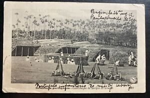 1912 Portugal Army RPPC Postcard Cover To Albany NY USA Infantry Construction