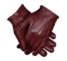 Mens Burgundy Leather Dress Gloves  Formal-Victorian/Mourning Medieval