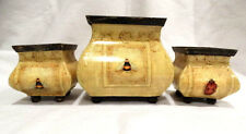 Contemporary Set of 3 Shabby Chic Yellow Bumble Bee & Lady Bug Metal Planters