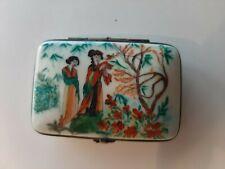 Porcelain Peint Main Limoges Trinket Box, Cardinet, France