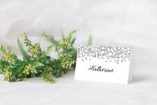 10 Personalised Christmas place card table names SILVER GLITTER CONFETTI Xmas