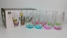 NEW Gibson KARISSA SET of 8-13 Oz Glass Tumbler DRINKING GLASSES 4 Pretty Colors