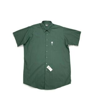 Van Heusen men's tall fit green leaf dress shirt NEW size 18.5 neck poplin short