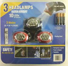 3 HEADLAMPS Ultra Bright 10 LEDs Per Headlamp,3 Modes.