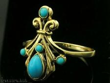 R293 Genuine 9ct SOLID Yellow Gold NATURAL Turquoise ornate Ring size N