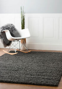 Super Area Rugs Contemporary Modern Plush Shag Solid Area Rug in Charcoal Gray