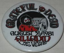 "Grateful Dead Aladdin Theater Las Vegas Aug 31 1981 Concert Pin #4 2 1/8"" Garcia"