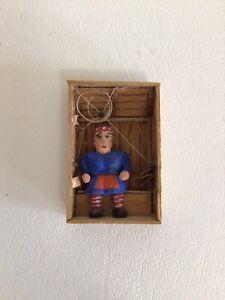American Folk Art Miniature Woman in Outhouse Carving Matchbox Tramp Art