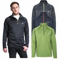 Trespass Collins Mens Hiking Fleece Jumper in Navy Black & Green