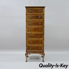 Century Furniture Banded Wood 7 Drawer Lingerie Chest Narrow Dresser Queen Anne