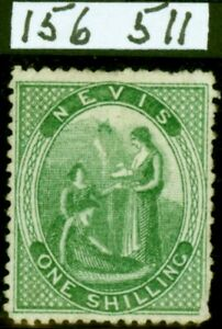 Nevis 1876 1s Yellow-Green SG14b Crossed Lines on Hill Good Unused Royal Cert