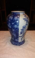 Rare Oriental Blue and White Porcelain Vase Cherry Blossom Floral Design 2toned