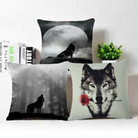 "Cotton Linen 18"" Wolf Sofa Pillow Case Fashion Throw Cushion Cover Home Decor"