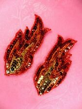 """JB262 Sequin Appliques Red Orange Gold Beaded Mirror Pair Flames 4"""""""