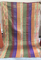 "Vintage Kantha Quilt Ralli Bedspread Twin Reversible Indian Sari Throw 57"" x 87"""