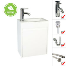 """16"""" White Bathroom Paint Vanity Small Wall Mount Ceramic Sink Faucet Drain Set"""