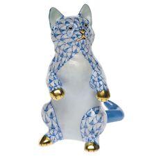 Herend, Kitten / Cat Standing Porcelain Figurine, Blue Fishnet, Flawless
