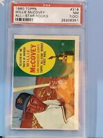 Topps 1960 Willie McCovery All-Star Rookie Card #316 NM PSA Awesome card.