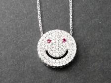 925 Sterling Silver Smiley Face Disc Emoji Emoticon Cubic Zirconia CZ Necklace