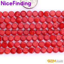 "6mm Red Pink Flat Coin Coral Stone Beads For Jewelry Making Beads Strand 15"" DIY"