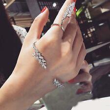 2pcs Women Girl Crystal & Zircon Finger Ring&Cuff Bracelet Bangle Jewelry Set