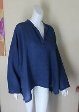 Eskandar -Sz 1 Denim Indigo Jean Linen V-Neck Pullover Blouse Shirt Tunic Top