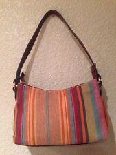 Fossil women canvas leather handbag hobo shoulder strap Multi Color stripes