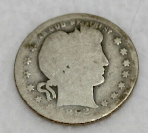 1892 - S Barber Quarter - Good Condition