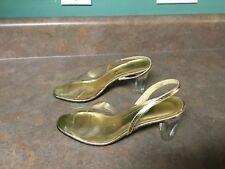 Vintage Jack Rogers Dress Pumps Gold Clear Size 5 1/2 M (CON5)