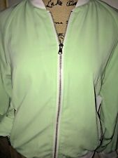 FOREVER 21 EXCLUSIVE COLLECTION PASTEL GREEN SATIN TRACK JACKET, WHITE TRIM, MED