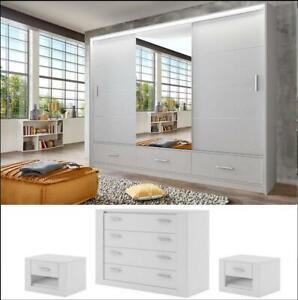White matt bedroom set LENOX 255cm - wardrobe chest 2 bedsides