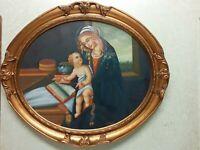 quadro maternità cornice vero legno ovale foglia oro dipinto a mano olio su tela