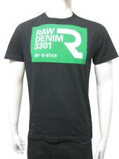 Mens G-Star T Shirt Top Green Box Raw 3301 Print - Black Size S to 3XL A20.2