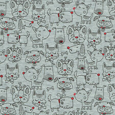 **Red Nose Puppy Dog** Cotton Mix Jersey Stretch Fabric (Baby Nursery Children)