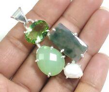 Dendritic Agate Chalcedony Amethyst Pearl Multi Gemstone Silver Pendant P-428