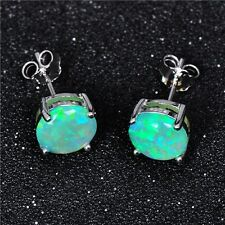 Exquisite Round Apple Green Opal Ear Studs Silver Plated Earrings for Women
