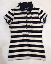 Uniqlo Women's Lightweight Navy Striped Polo Shirt Small Worn