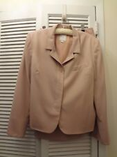 WOMEN'S C&W BLUSH PINK WOOL SKIRT SUIT W/HIDDEN BUTTONS SIZE 16 100% WOOL