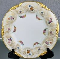 "9 5/8"" Jean Pouyat French Limoges Dinner Plate JP France Swag Flowers Gold"