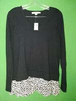 2265) NWT ANN TAYLOR LOFT medium M cotton sweater w/faux blouse black new M