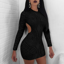 Sexy Women Long Sleeve Paillette Backless Bodycon Cocktail Party Mini Dress