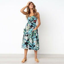 UK Womens Holiday Strappy Button Pocket Ladies Summer Beach Midi Swing Sun Dress #2 8